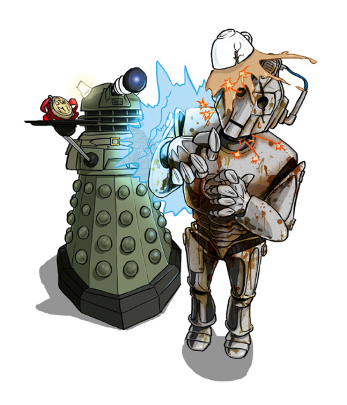 Ironside v Cyberman During war time there's nothing a good cuppa can't sort out, especially when there's a pesky Cyberman cluttering things up. Someone's going to have to clean that up… Illustration for issue 33 of Doctor Who: Monster Invasion! ©Immediate Media Co. & BBC Worldwide