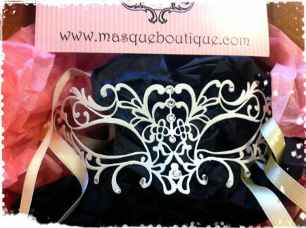karlapowellmua:  Look at my beautiful white metal diamond Venetian Mask I am using on my next food project photoshoot- 'Snow Queen of Sweets' by Masque Boutique. This gorgeous genuine venetian metal filigree lace mask is all ready for my next food shoot. I wanted a lace design to go with the make-up look I am creating for the shoot and I wanted something different, and when I discovered Masque Boutique's amazing website full of stunning masks these metal venetian masks were the perfect alternative to the traditional masks seen today for the look I want to achieve. They have a laser cut metal finish available in plain, luxury or deluxe, decorated with Swarovski crystals or Diamante stones and come in black, gold, silver and Ivory white colours. All tied with satin ribbons. I can't wait to start playing with different eye looks to sit nicely underneath Masque Boutique's metal mask. Masqua Boutique Metal Diamond Venetian Masks range from £25 upwards on http://masqueboutique.com/ Keep a look out for more pictures ready for the photoshoot.  KarlaX