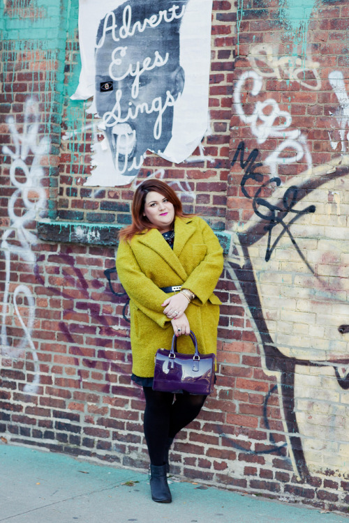 Nicolette Mason looks stunning in this lime green coat, a sure way to brighten up a grey winter day!