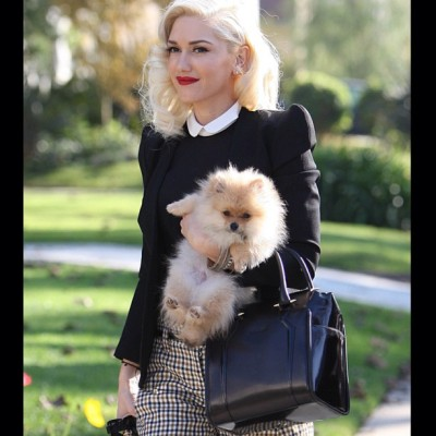 "nicolaformichetti:  Gwen stefani in mugler ' the agent "" bag and Pom combo! ..and the mugler jacket @muglerlive #hot"