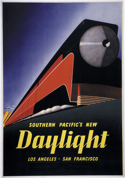 "losangelespast:  Color poster promoting the sleek Southern Pacific GS-4 ""Daylight"" train, which made the run from Los Angeles to San Francisco, circa 1937."