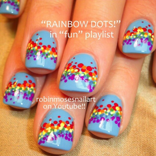 #robinmosesnailart #nailart #nailaddicts #rainbow #easynailart rainbow dots tutorial up for friday!!!! Please help me tag!!