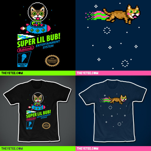 The Yetee is featuring 2 new Limited Edition BUB Shirts by Drew Wise Design this weekend. NYAN BUB and SUPER LIL BUB! As always the shirts are very affordable ($11/ea) and The Yetee, Lil BUB and Drew Wise are all matching donations to an animal charity of their choice from every sale. Both designs are only available starting at midnight tonight, Friday, November 23rd through 11:59 pm on Sunday night, November 25th, directly from www.theyetee.com. Just go to www.theyetee.com any time this weekend to order one, the other, or both designs. They will be doing combined shipping on multiple orders.