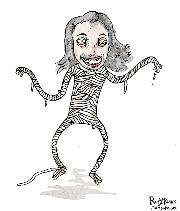 Here's a drawing of Steve Buscemi as a mummy. A Steve Buscemummy if you will. A spooky Steve Buscemummy. So that's pretty cool I guess.