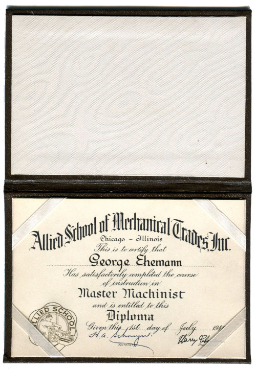 This little diploma was awarded to my Grandfather; the same one that used the tools and great old wood tool box that I've already posted. He graduated as a Master Machinist just five months before the Pearl Harbor attacks. Thus his skills were in high demand as the nation's industry geared up for the war effort. While I tried to figure out what happened to the Allied School of Mechanical Trades, to no avail, I did stumble upon another interesting story. I came across their address from old ads in Popular Mechanics. One in particular not only gives the address but also shows the school, which is easily recognizable from Street View. The building is located on Michigan Avenue in the South Loop area of Chicago and is a very nice looking example of early 1920s architecture.  While the school is long gone the building is still in the news. Apparently over the years it had become a Cook County Courthouse site that handled domestic violence cases. The courts moved out and the area was scheduled to become part of a massive condo complex known as Azure Tower. This project collapsed sometime during our current financial debacle, thus leaving the building's future an unknown. This uncertainty elevated the site to be designated as one of Chicago's seven most endangered worthwhile buildings (which is quite a distinction when you think about how many old buildings there are in Chicago). But all may not be lost. The building is scheduled to be auctioned off on December 15. With some luck a good buyer will be found and hopefully a new use can be found for this gem.