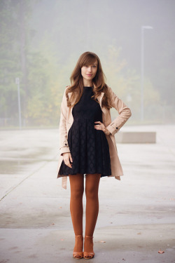 modcloth:  Veronika of Girl and Closet in a classic trench.