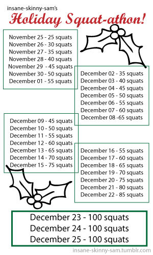 be-gone-flab-hello-fab:  insane-skinny-sam:  Join my for my Holiday Squat-athon! Reblog and comment if you're going to join me for the next 30 days to get your ass in shape for Christmas!   I will give a squat challenge another go.
