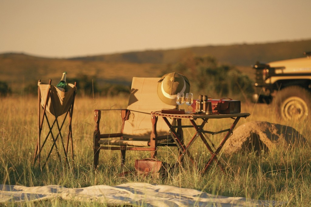 Safari camp post - folding chair & butlers table