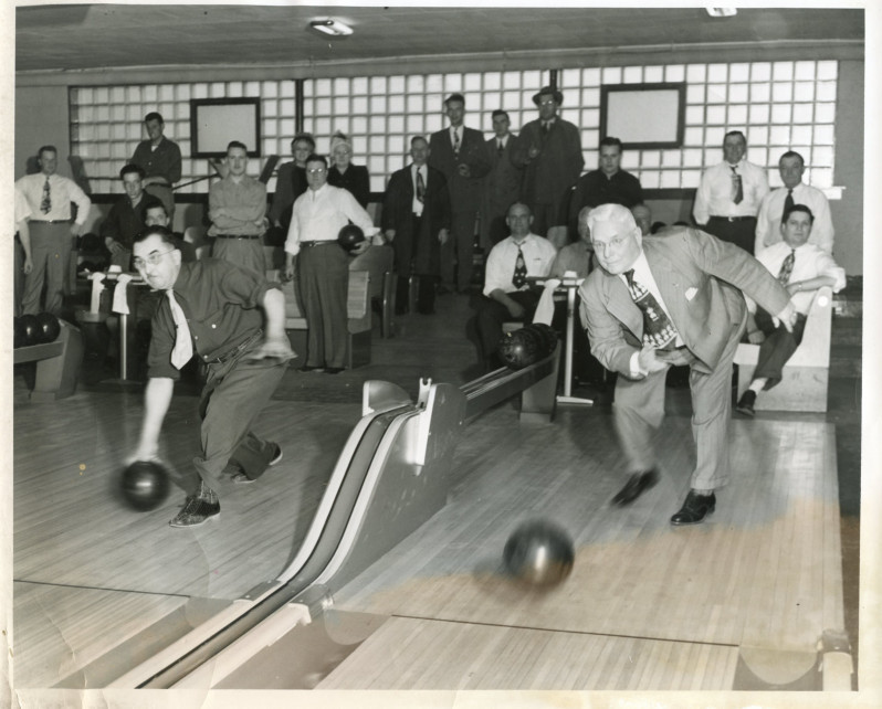 Two men bowling, Wisconsin Rapids, Wisconsin, ca. 1950. Photo by Don Krohn for the Wisconsin Rapids Daily Tribune. via: South Wood County Historical Corporation