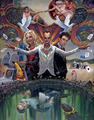 "Aaron Jasinski's ""It Is All An Illusion"" is a stunning giclee print inspired by Arrested Development and can be purchased online here: http://nineteeneightyeight.com/products/aaron-jasinski-it-is-all-illusion-print"