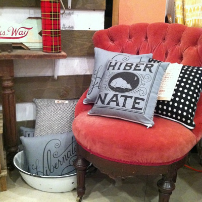 Cozy pillows on display at Wanderlust.