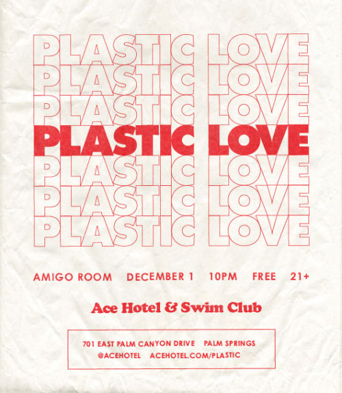 Plastic Love — the LA duo of DJs Bas Elgharib and Jimmy Maheras — spin disco, house, techno, acid, shoegaze, polka, dubstep and everything in between December 1 at Ace Hotel & Swim Club in Palm Springs. Based in LA but inspired by both coasts, Jimmy and Bas showcase global artists through their radio show and webcast Plastic Love Radio. Jimmy made a mix just for Ace to give a taste of what he'll be playing next Saturday in the Amigo Room.