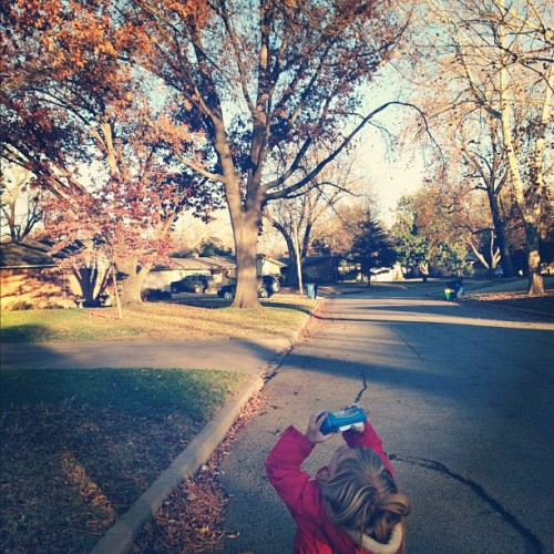 """""""Those leaves up there look pretty, can I take a picture of them?"""""""