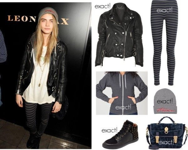 stylebycara:  Cara was photographed wearing this Burberry jacket, this American Apparel hoodie, these Chinti and Parker leggings, and these Mulberry sneakers. She paired the look with this Mulberry bag (sold out) and this Trapstar beanie.       (via TumbleOn)