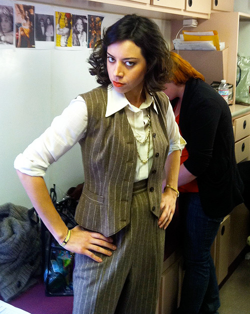"hagplaza:  Aubrey Plaza on the set of ""A Glimpse in the Mind of Charles Swan III"""
