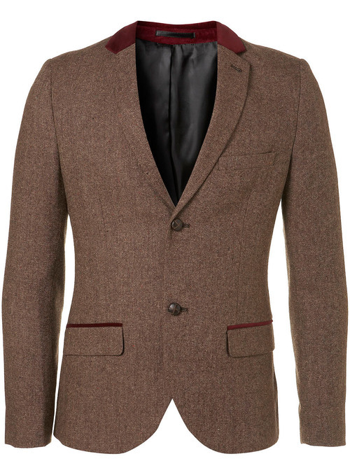 Brown and Burgundy Skinny Blazer, $230 at Topman