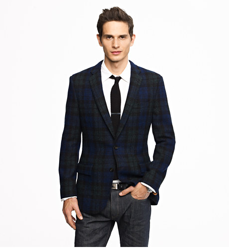 Ludlow Sportcoat in Black Watch Harris Tweed Wool, $548 at J. Crew