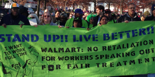 Walmart workers protest for better wages and benefits on Black Friday.