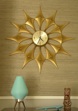 midcenturymodernfreak:  Starburst Clock Via   So much love for this pic and all the elements therein!