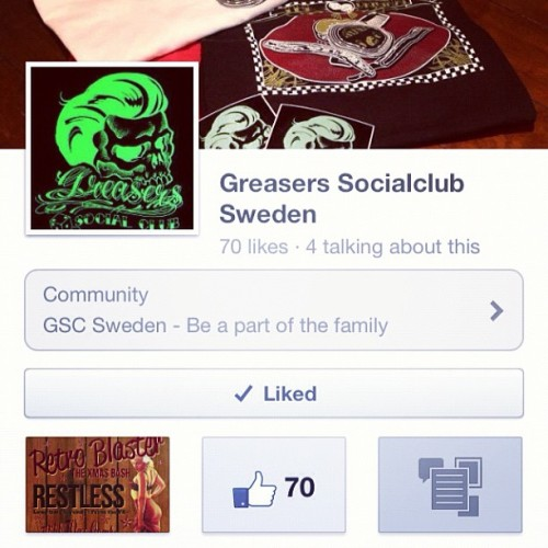 All of you all: I would be really greatful if you LIKED Greasers Socialclub Sweden on Facebook. It's a world wide growing network for dudes and dolls all over the world with it's roots in Las Vegas and I have the great pleasure to be president of the swedish bransch. #Greaserssocialclubww #