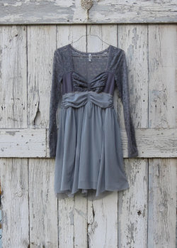 fernfiddlehead:  Shades of Grey Dress upcycled lace party dress eco Free People ballet babydoll gray dress by wearlovenow (54.99 USD) http://etsy.me/10tMtB4