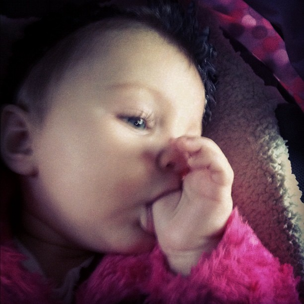 Sucking her thumb. So cute. #baby #family #cute