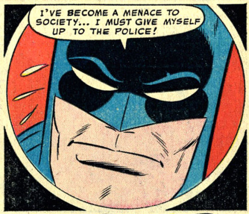 "(via Bully Says: Comics Oughta Be Fun!)  Panel from ""The Outlaw Batman"" in Detective Comics #228 (February 1956), pencils by Bob Kane, inks by Charles Paris"