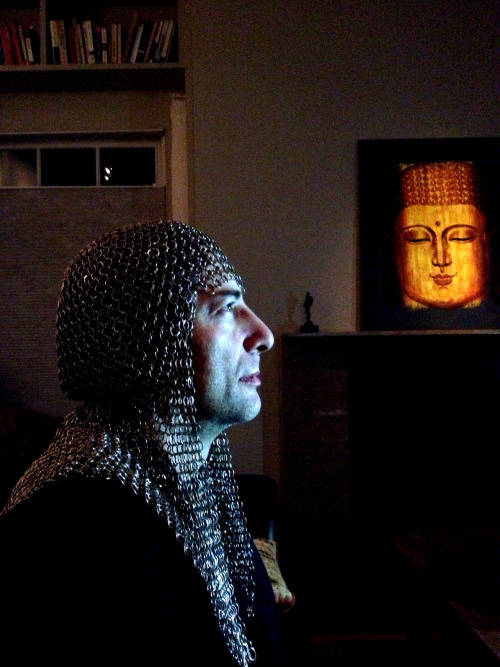 neil-gaiman:  amandapalmer:  neil gaiman and the holy grail. (and buddha).  My nose is enormous