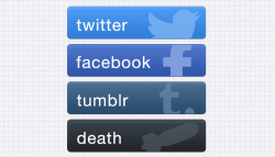 Social sharing button set.