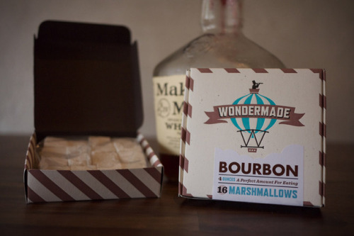 Wondermade Bourbon Marshmallows  Also available in: Guinness, Pumpkin Pie, S'mores, Peppermint, and Honey Pear flavours. 16 marshmallows (4 oz.) for $7.50.