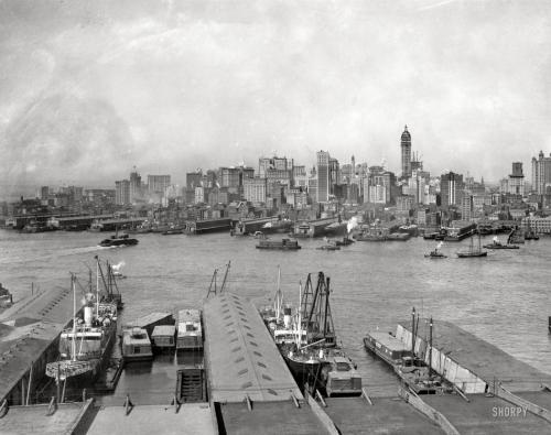 Manhattan skyline from Brooklyn, 1907