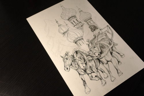 So this is what I've been working on for one of my classes. The horses on the left look like they've been morphed together but hopefully nobody will notice!