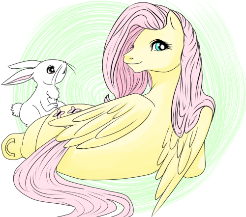 Fluttershy drawn in generation 1 style