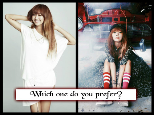 kpopversus:  Which one do you prefer?     Hyolyn : Like this    Hyuna  :  Reblog this  Hyuna (: