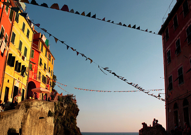 | ♕ |  Sunset afterglow over Riomaggiore  | by © B℮n | via ysvoice