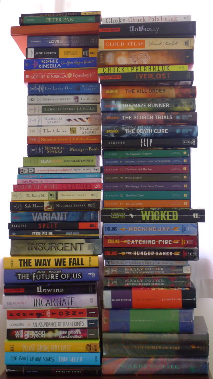 paper-hurricanes:  Books at home, most being mine (especially the YA titles). Some are either missing or haven't been returned. I'm currently finishing up the first few books on the top right. Started keeping track of all the books I've read today, though I should have done so years ago. If anything, I began with Nicholas Sparks (I was lucky enough to meet him and get The Best of Me signed last year!) then slowly, somehow, I got into reading YA. Favorites at the moment: The Fault in our Stars and Paper Towns by John Green, and Unwind by Neal Shusterman. I've read about 60-something books in the past two years, if I remember properly—which is a pretty small amount if you think about it. Does 2013 mean taking on a book challenge and/or write book reviews? Maybe.