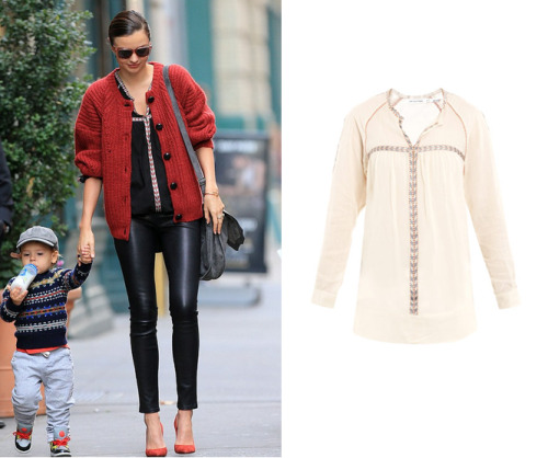 Miranda Kerr is looking effortlessly chic with her son, who is the most adorable child ever.  Get her top (wrong colour though) —> HERE