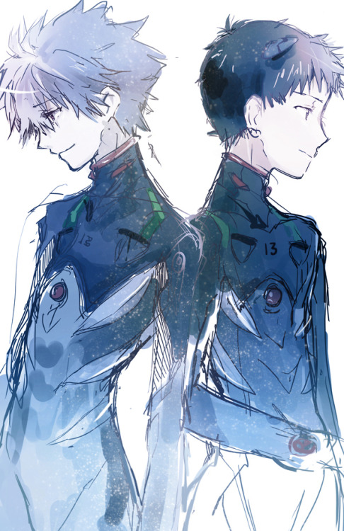 "circuitbird:  I have a lot of feelings about Shinji and Kaworu. I know that Kaworu's insertion has been criticized as deliberate and ridiculous yaoi-fodder, but I think that's a really myopic view of his purpose in the series. Shinji is cripplingly terrified of relationships with others. Though he has constructed this elaborate delusion where his self-loathing and isolation are a form of martyrdom, he is very self-centered, and desperately wants validation and security from those around him on his terms and under his control. Unfortunately, self-loathing and abandonment trauma kind of throw a wrench into any prospects for intimacy. Kaworu fulfills Shinji's desire for a safe, human connection. Since it has already been suggested that Shinji's sexuality w/r/t women frightens and occasionally repulses him (see: all his interactions with Asuka, Rei, and Misato), Kaworu's gender establishes him as uniquely nonthreatening. His professions of love elevate Shinji at the expense of Kaworu's own identity and autonomy (""I was probably born to meet you""), making Shinji the center of his universe. Kaworu is full of gentle but boundless praise and love. He caters completely to Shinji's selfish and unrealistic interpersonal needs. Which is why Kaworu's death at Shinji's hands is so symbolically necessary. Kaworu is too good to be true. His existence as an angel is the ultimate betrayal, and a confirmation of Shinji's deepest fears: that no emotional investment is without risk. When Shinji kills Kaworu, much to his own anguish, it is him finally and fully confronting this fact. He must kill his fantasies and distorted self-perception, because they have stunted him totally and because they harm him and harm others. He must realize that truly selfless love involves the death of self, and that while he envisions this as comforting, it is in fact horrifying: it is a personal, violent precursor to Third Impact and Instrumentality."