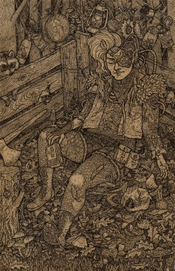 "eatsleepdraw:  sittin' in the compost by fiona bearclaw pen and ink 5 1/2"" x 8 1/2"" tumblr"