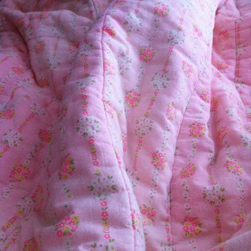 I trash picked this pink floral flannel sleeping bag and I love it (I washed it a bunch duh)