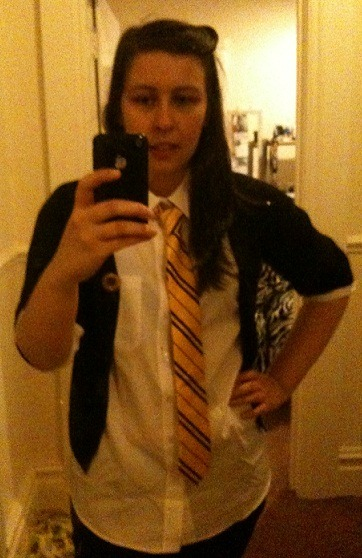 rhubarbroyle:  Finally bought a shirt today so I can wear my Hufflepuff tie when I go to Leavesden Studios on Monday. Because I am the cool kind of 22 year old. The kind who is only slightly ashamed of crouching in the children's school clothes section of Asda, ruining the perfectly packaged blouses to see if a 15-16 year old boy wears the same size shirt as me. And yes, Tumblr. Yes, he does.