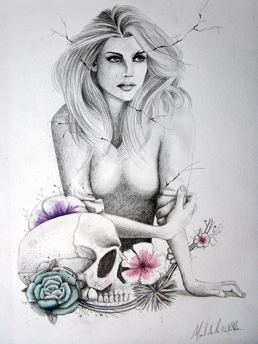 "#illustration ""LM&DR3"" / Live muses & dead roses project, pencil & watercolors, by Manuel De La Fuente Baños / manuelsart.com portfolio ©2012"