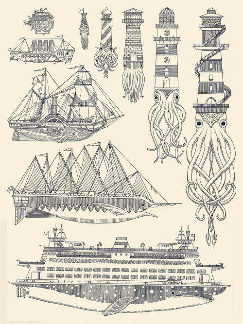 generallynautical:  kylermartz:  Whaleboats II Screenprint. 2012. Kyler Martz  Love it.  Line drawings – great! Screen print – great!!