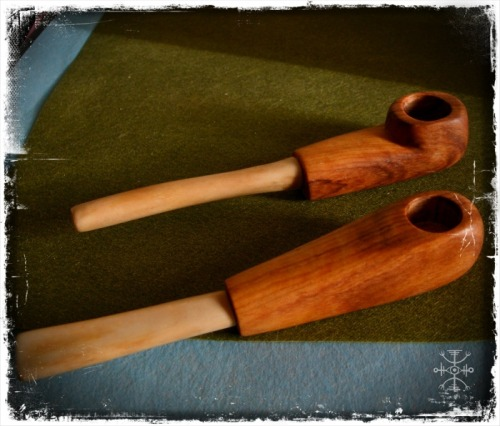 witchofforestgrove:  Olive wood and fox bone pipes I finished yesterday. The wood is so smooth and shiny! These will be available for sale when I finish the rest of the pipes and other goodies ;)