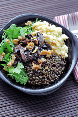 Couscous, Rocket, Mushrooms and Lentils by Salad Pride on Flickr.