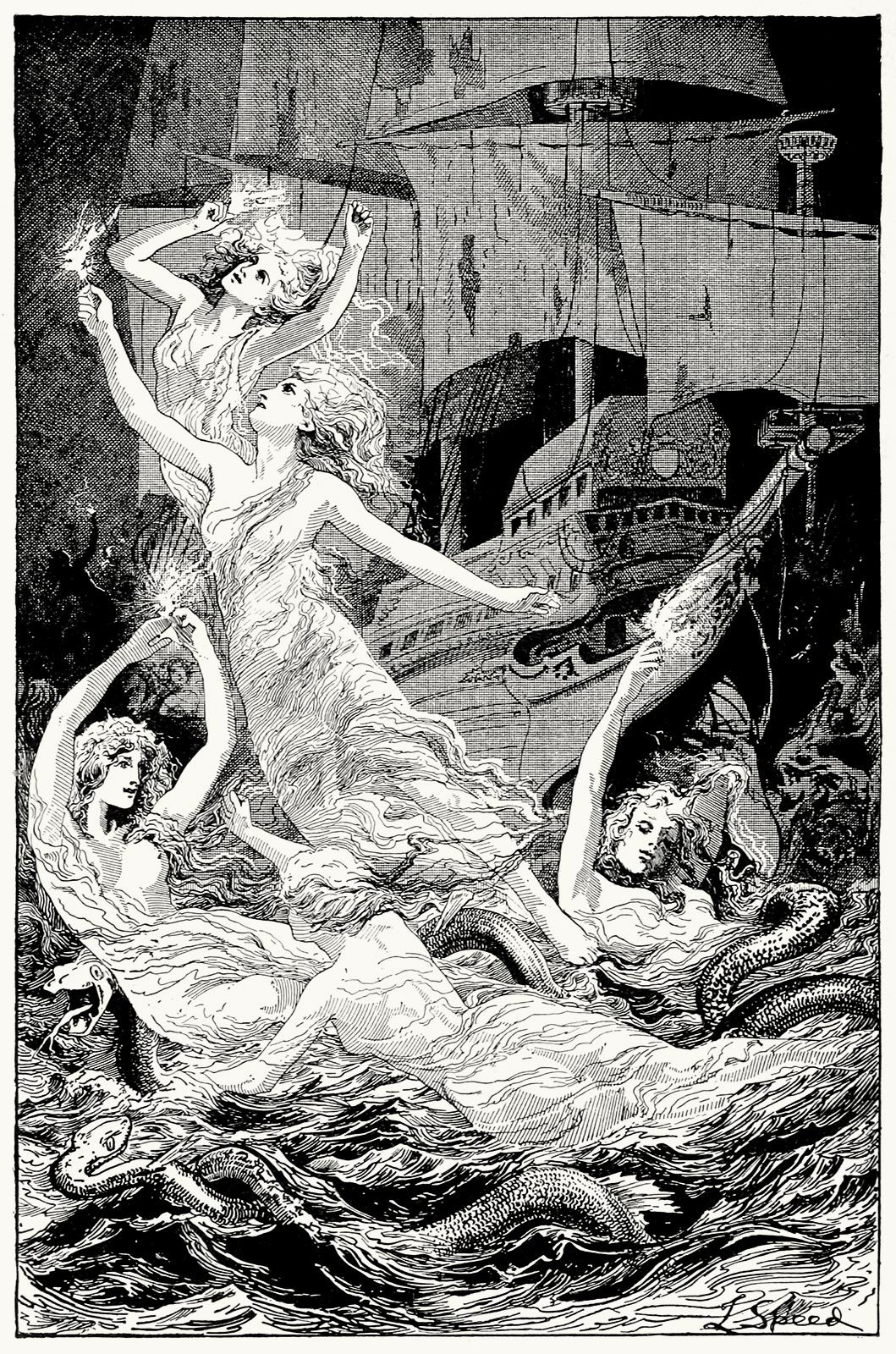 oldbookillustrations:  The death-fires danced at night. Lancelot Speed, from The blue poetry book, edited by Andrew Lang, illustrated by Lancelot Speed and H. J. Ford. London, New York, Bombay, and Calcutta, 1912. (Source: archive.org)