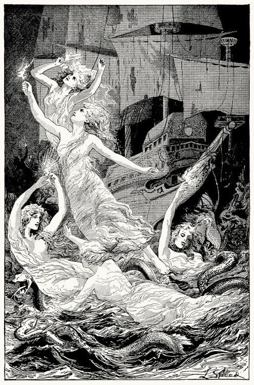 oldbookillustrations:  The death-fires danced at night. Lancelot Speed, from The blue poetry book, edited by Andrew Lang, London, New York, Bombay, and Calcutta, 1912. (Source: archive.org)