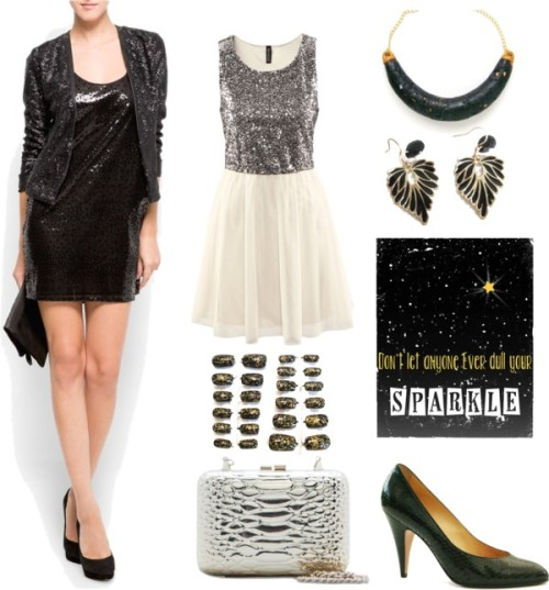 Saturday Style - Sparkle! by katlix-design featuring a box clutch purseH&M sequin dress, $40 / Mango sequin jacket / Casadei high heels / Mango box clutch purse / Bubble bib necklace / Black leaf earrings black and gold leaf fall by selenedream / UCF Knights Nail Art glitter sparkly black by Sparklysharpfabulous / Don't let anyone ever dull your Sparkle by OrangeWillowDesigns