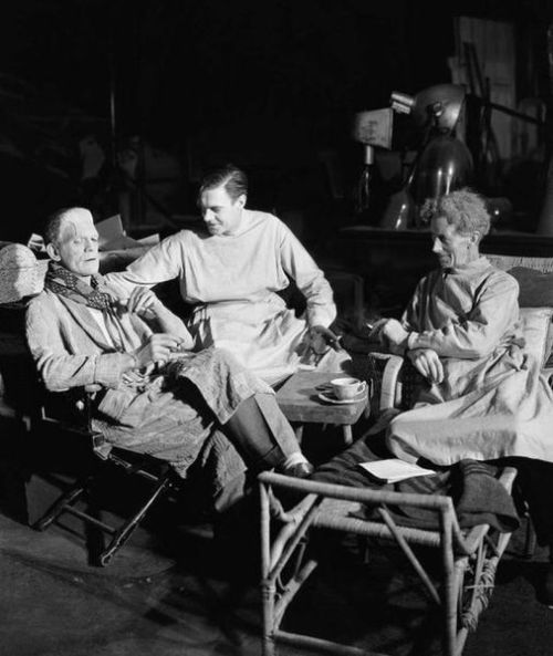 beautyandterrordance:  Karloff, Clive and Thesiger, on the set of Bride of Frankenstein.