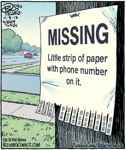 laughingsquid:  Missing: Little Strip of Paper With Phone Number On It